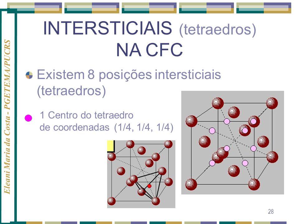 Eleani Maria da Costa - PGETEMA/PUCRS 28 INTERSTICIAIS (tetraedros) NA CFC Existem 8 posições intersticiais (tetraedros) 1 Centro do tetraedro de coor