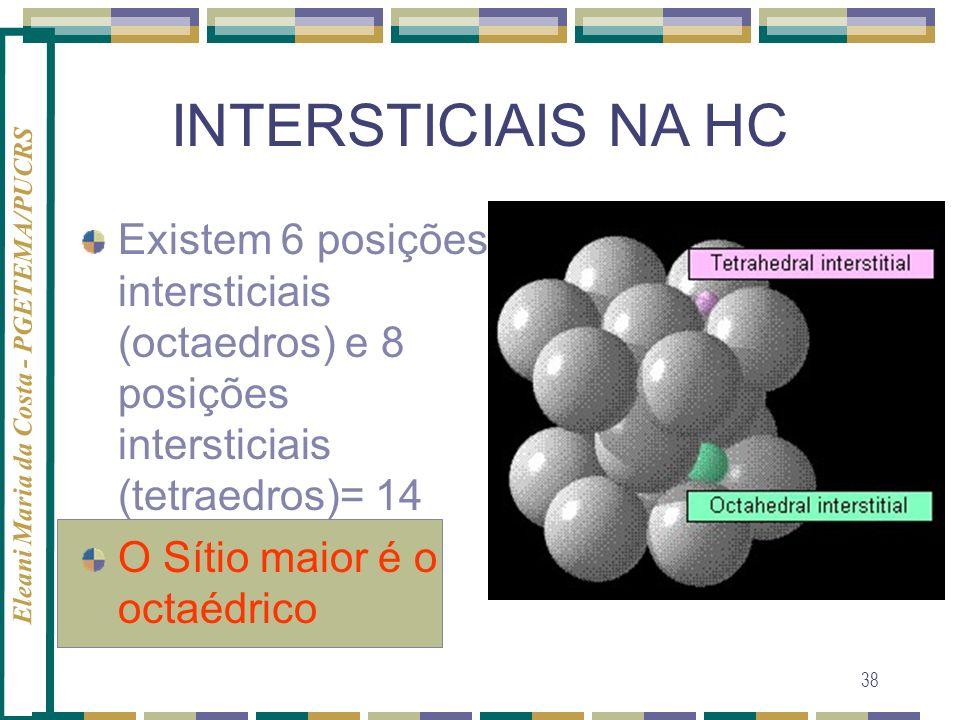 Eleani Maria da Costa - PGETEMA/PUCRS 38 INTERSTICIAIS NA HC Existem 6 posições intersticiais (octaedros) e 8 posições intersticiais (tetraedros)= 14