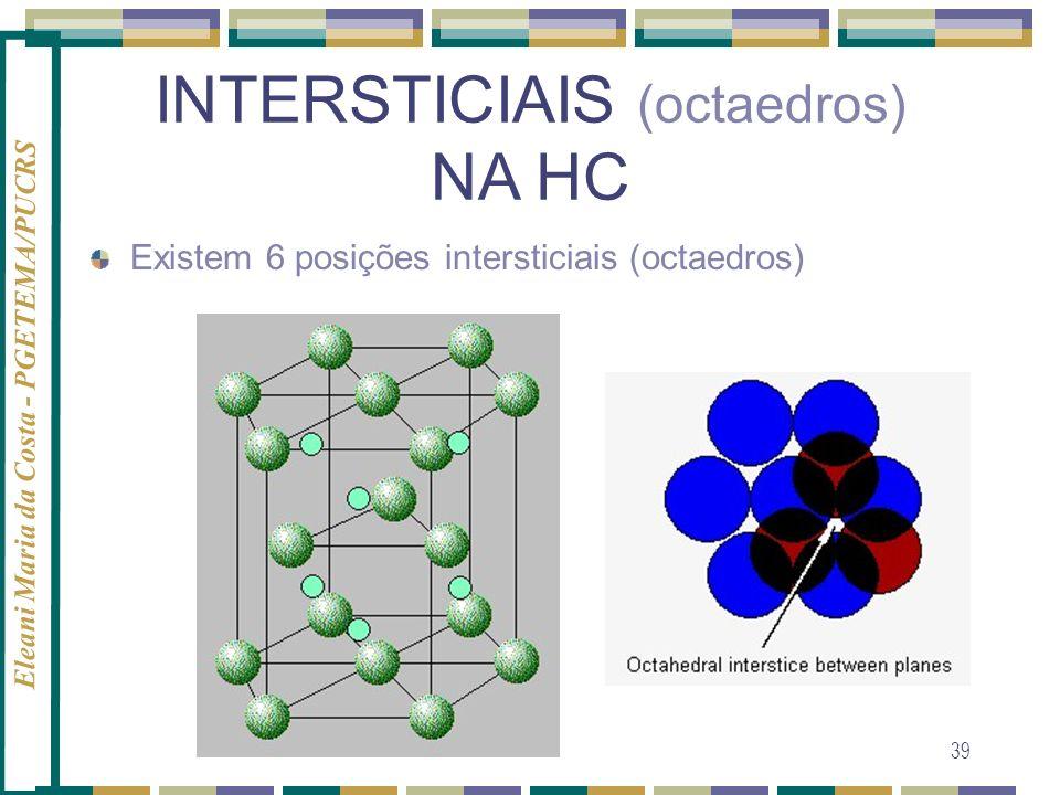 Eleani Maria da Costa - PGETEMA/PUCRS 39 INTERSTICIAIS (octaedros) NA HC Existem 6 posições intersticiais (octaedros)