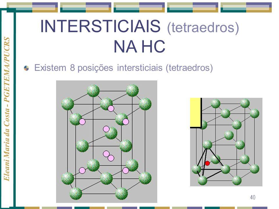 Eleani Maria da Costa - PGETEMA/PUCRS 40 INTERSTICIAIS (tetraedros) NA HC Existem 8 posições intersticiais (tetraedros)