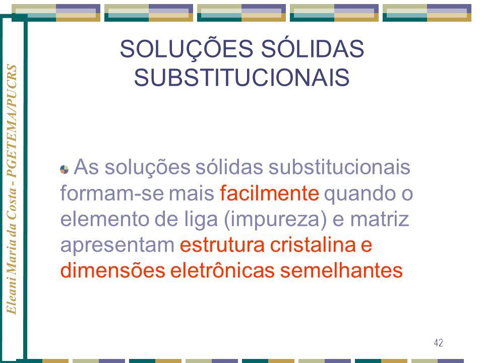 Eleani Maria da Costa - PGETEMA/PUCRS 42 As soluções sólidas substitucionais formam-se mais facilmente quando o elemento de liga (impureza) e matriz a