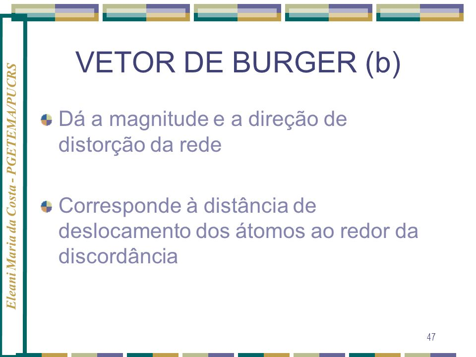 Eleani Maria da Costa - PGETEMA/PUCRS 47 VETOR DE BURGER (b) Dá a magnitude e a direção de distorção da rede Corresponde à distância de deslocamento d