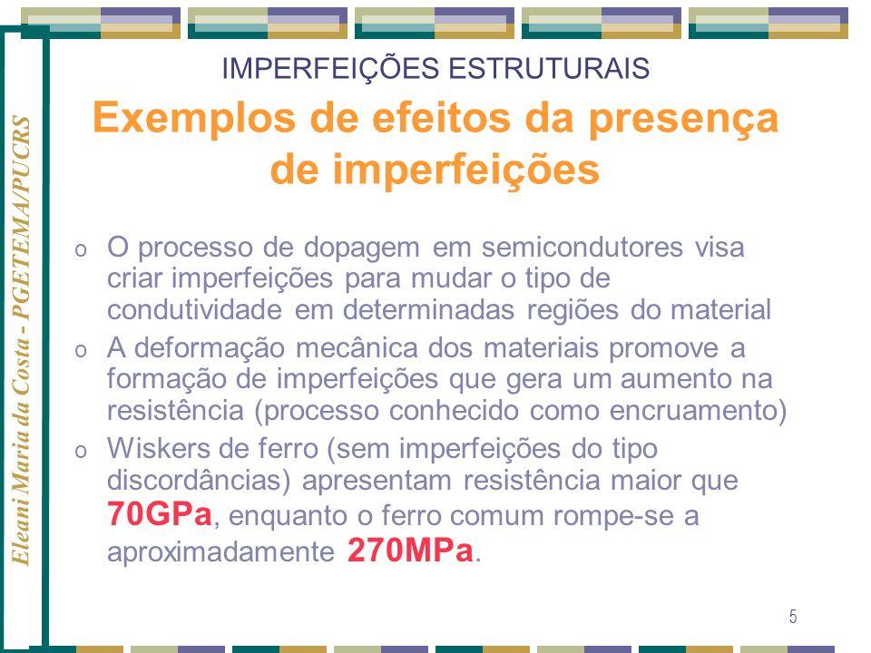 Eleani Maria da Costa - PGETEMA/PUCRS 5 IMPERFEIÇÕES ESTRUTURAIS Exemplos de efeitos da presença de imperfeições o O processo de dopagem em semicondut