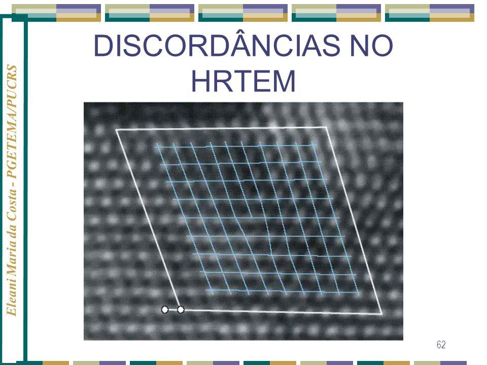 Eleani Maria da Costa - PGETEMA/PUCRS 62 DISCORDÂNCIAS NO HRTEM