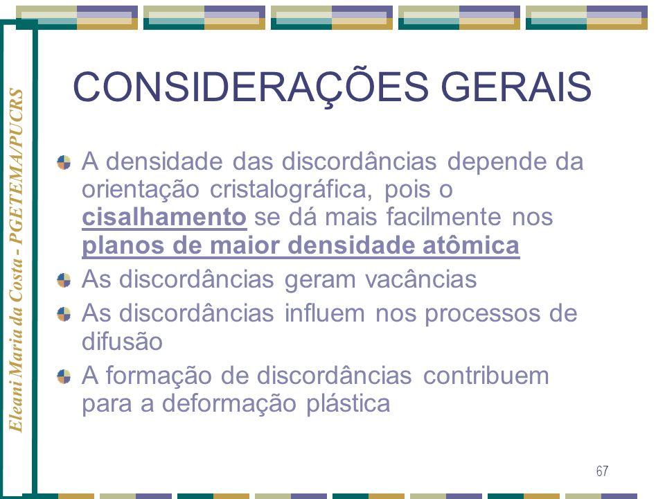 Eleani Maria da Costa - PGETEMA/PUCRS 67 CONSIDERAÇÕES GERAIS A densidade das discordâncias depende da orientação cristalográfica, pois o cisalhamento