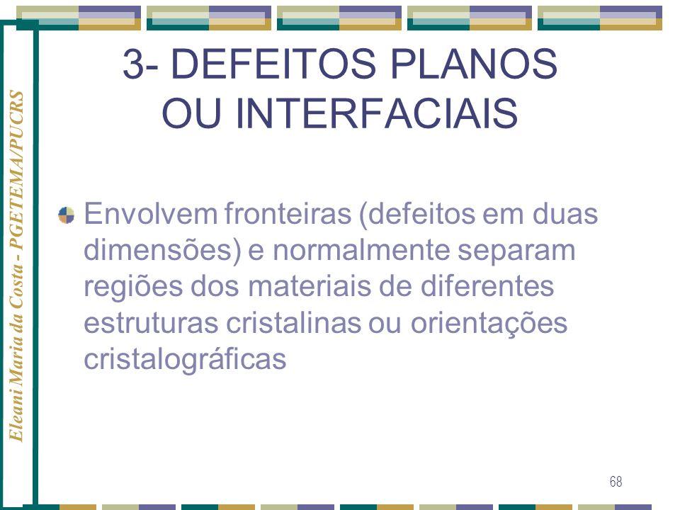 Eleani Maria da Costa - PGETEMA/PUCRS 68 3- DEFEITOS PLANOS OU INTERFACIAIS Envolvem fronteiras (defeitos em duas dimensões) e normalmente separam reg