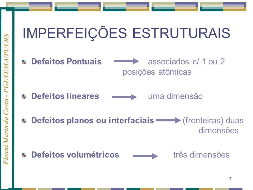 Eleani Maria da Costa - PGETEMA/PUCRS 7 IMPERFEIÇÕES ESTRUTURAIS Defeitos Pontuaisassociados c/ 1 ou 2 posições atômicas Defeitos linearesuma dimensão