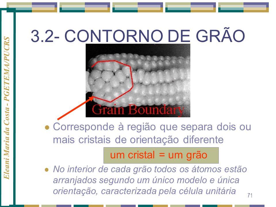 Eleani Maria da Costa - PGETEMA/PUCRS 71 3.2- CONTORNO DE GRÃO Corresponde à região que separa dois ou mais cristais de orientação diferente um crista