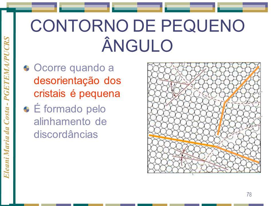 Eleani Maria da Costa - PGETEMA/PUCRS 78 CONTORNO DE PEQUENO ÂNGULO Ocorre quando a desorientação dos cristais é pequena É formado pelo alinhamento de