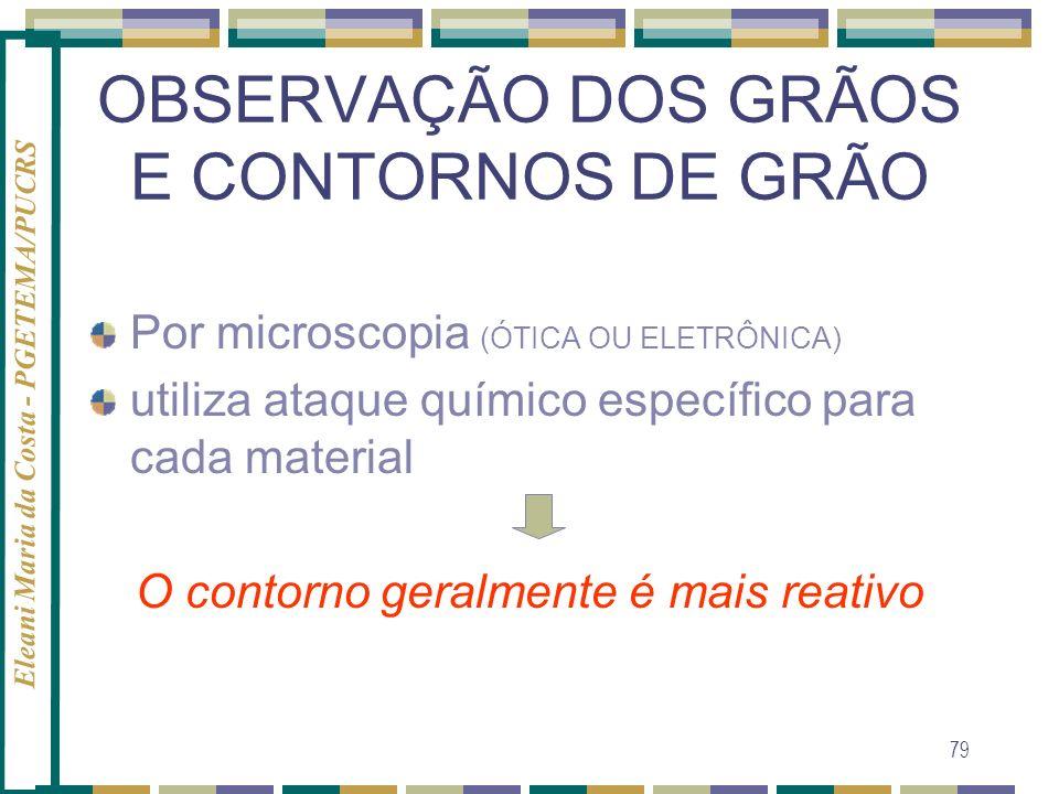 Eleani Maria da Costa - PGETEMA/PUCRS 79 OBSERVAÇÃO DOS GRÃOS E CONTORNOS DE GRÃO Por microscopia (ÓTICA OU ELETRÔNICA) utiliza ataque químico específ