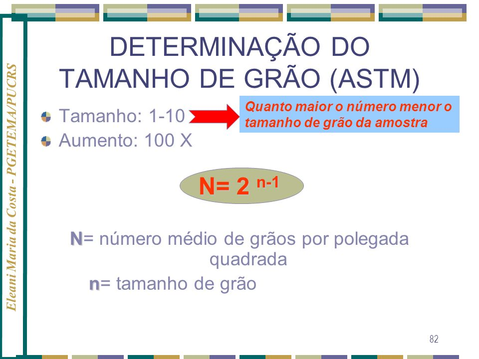 Eleani Maria da Costa - PGETEMA/PUCRS 82 DETERMINAÇÃO DO TAMANHO DE GRÃO (ASTM) Tamanho: 1-10 Aumento: 100 X N= 2 n-1 N N= número médio de grãos por p
