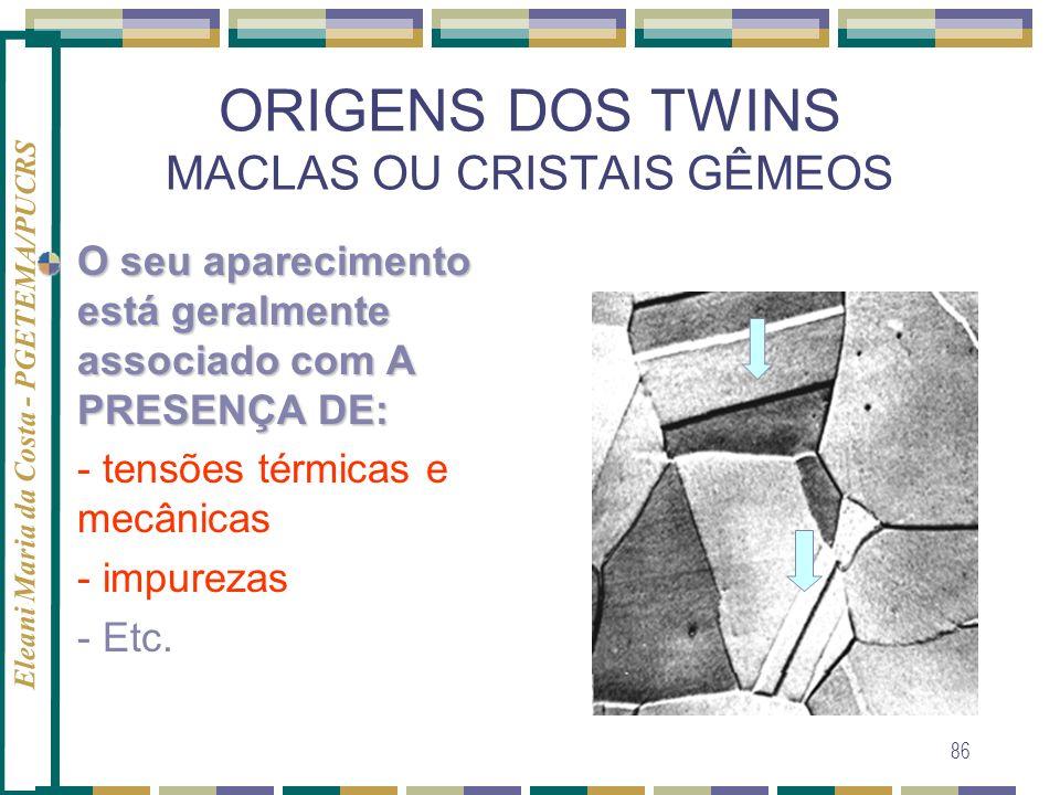 Eleani Maria da Costa - PGETEMA/PUCRS 86 ORIGENS DOS TWINS MACLAS OU CRISTAIS GÊMEOS O seu aparecimento está geralmente associado com A PRESENÇA DE: -