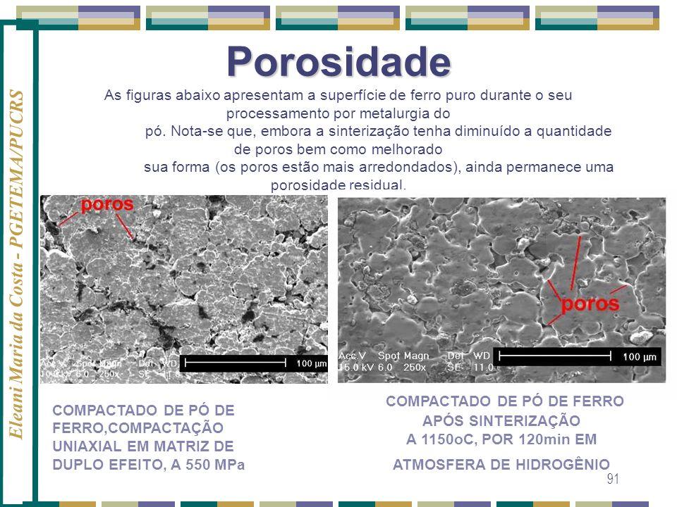 Eleani Maria da Costa - PGETEMA/PUCRS 91 Porosidade Porosidade As figuras abaixo apresentam a superfície de ferro puro durante o seu processamento por