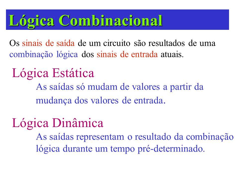 Lógica Combinacional Os sinais de saída de um circuito são resultados de uma combinação lógica dos sinais de entrada atuais. Lógica Estática As saídas