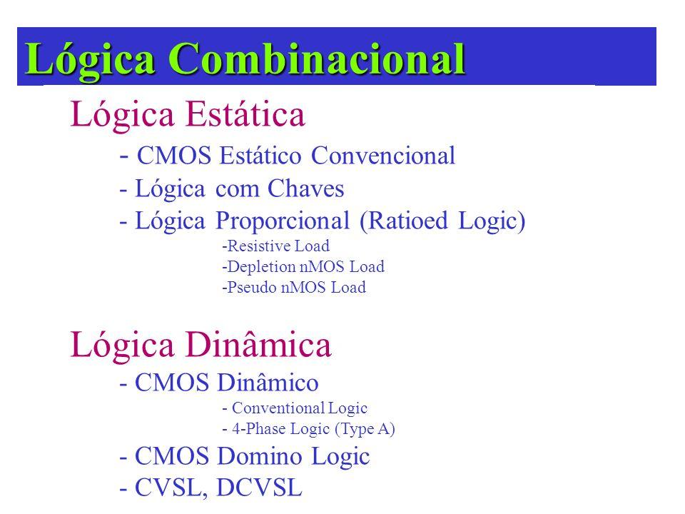 Lógica Combinacional CMOS Estático Convencional Exceto durante o período de transição, a saída de uma porta CMOS estática Exceto durante o período de transição, a saída de uma porta CMOS estática está ligada a VDD ou VSS (Massa) através de um caminho com baixa resistividade.