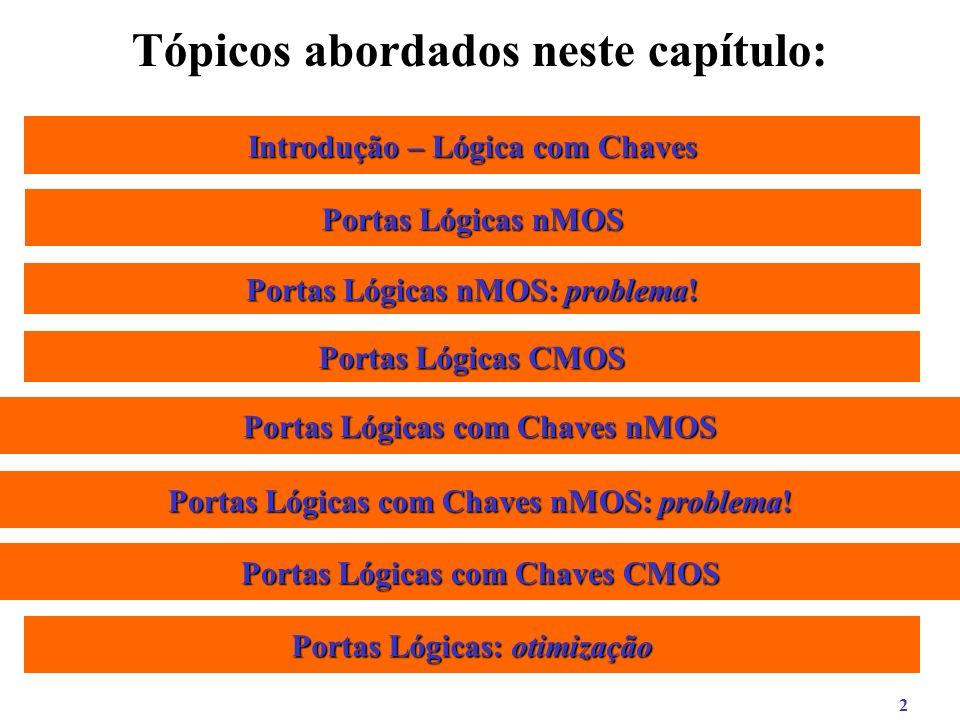 13 Porta NOR CMOS Equação: S = A + B Esquema Lógico: ABAB S Esquema Elétrico CMOS: S terra A B VCC Portas Lógicas CMOS