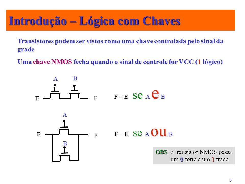 3 Transistores podem ser vistos como uma chave controlada pelo sinal da grade Uma chave NMOS fecha quando o sinal de controle for VCC (1 lógico) E F A