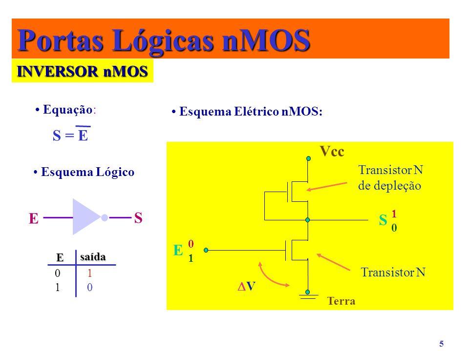 5 INVERSOR nMOS Equação: S = E E S Esquema Elétrico nMOS: Transistor N de depleção Transistor N Terra V E Vcc S 0101 1010 Esquema Lógico Portas Lógica