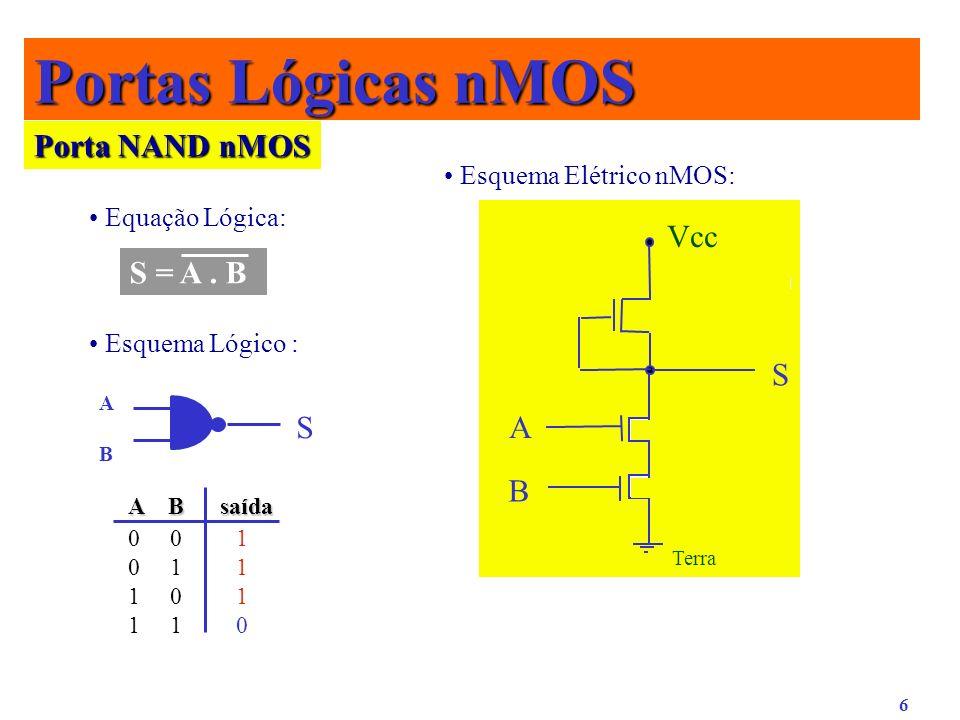 6 0 0 1 0 1 1 1 0 1 1 1 0 Porta NAND nMOS Equação Lógica: Esquema Lógico : Esquema Elétrico nMOS: S = A. B ABAB S S Vcc Terra A B Portas Lógicas nMOS