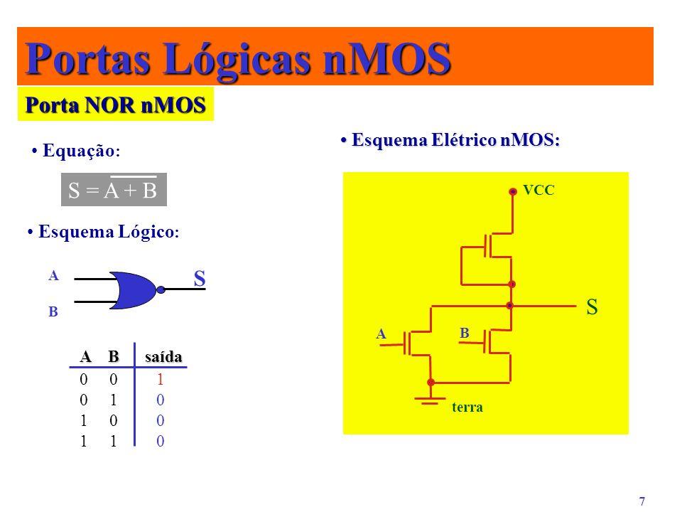 7 Portas Lógicas nMOS Porta NOR nMOS Equação : S = A + B Esquema Lógico : ABAB S Esquema Elétrico nMOS: Esquema Elétrico nMOS: S terra A B VCC 0 0 1 0