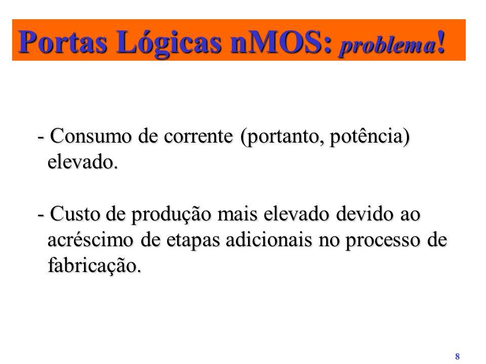 8 Portas Lógicas nMOS: problema ! - Consumo de corrente (portanto, potência) elevado. - Custo de produção mais elevado devido ao acréscimo de etapas a