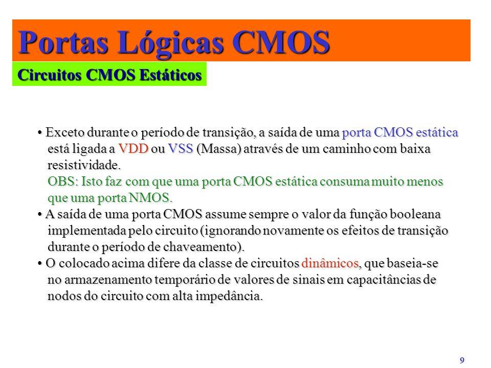 9 Portas Lógicas CMOS Circuitos CMOS Estáticos Exceto durante o período de transição, a saída de uma porta CMOS estática Exceto durante o período de t