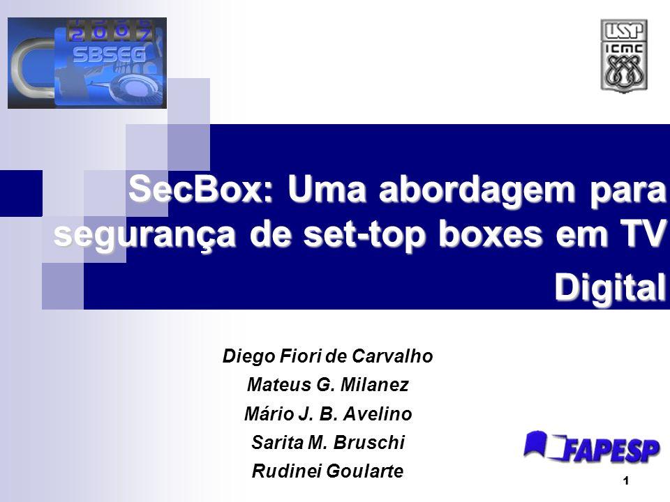 2 Sumário Introdução TV Digital Segurança em Sistemas Embarcados Técnicas Segurança para SecBox SecBox Arquitetura Funcionamento Benefícios Alcançados Ataques Considerações Finais