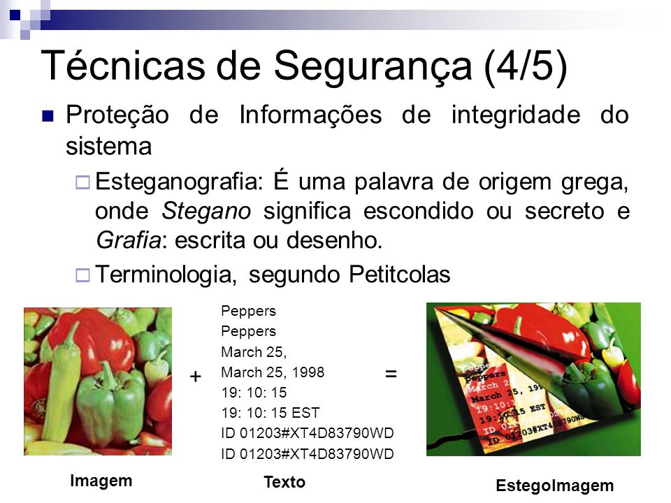 Técnicas de Segurança (4/5) Proteção de Informações de integridade do sistema Esteganografia: É uma palavra de origem grega, onde Stegano significa es