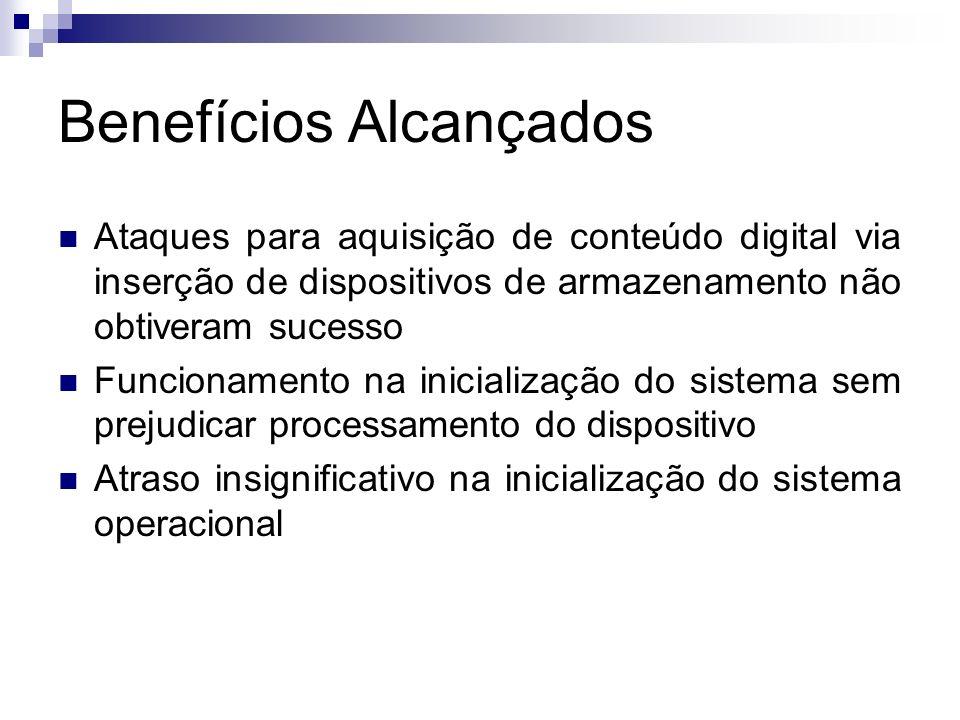 Benefícios Alcançados Ataques para aquisição de conteúdo digital via inserção de dispositivos de armazenamento não obtiveram sucesso Funcionamento na