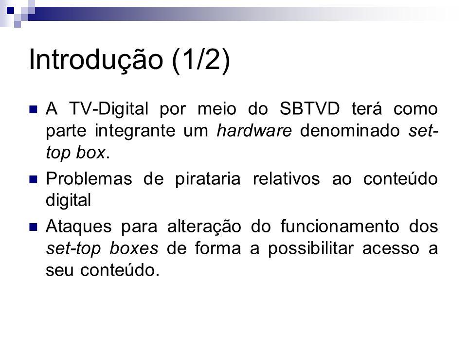 Introdução (1/2) A TV-Digital por meio do SBTVD terá como parte integrante um hardware denominado set- top box. Problemas de pirataria relativos ao co