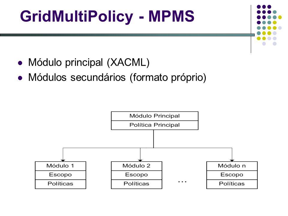 GridMultiPolicy - MPMS Módulo principal (XACML) Módulos secundários (formato próprio)