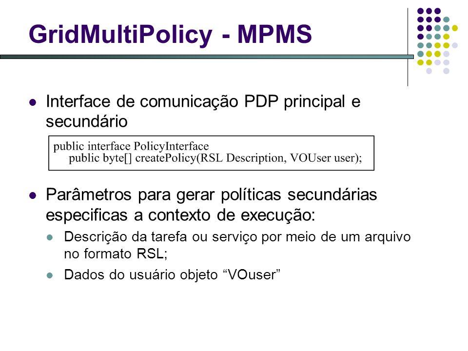 GridMultiPolicy - MPMS Interface de comunicação PDP principal e secundário Parâmetros para gerar políticas secundárias especificas a contexto de execução: Descrição da tarefa ou serviço por meio de um arquivo no formato RSL; Dados do usuário objeto VOuser
