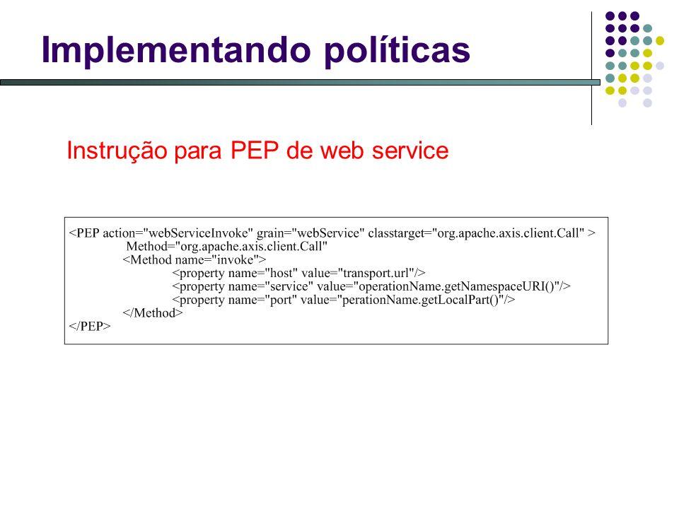 Implementando políticas Instrução para PEP de web service