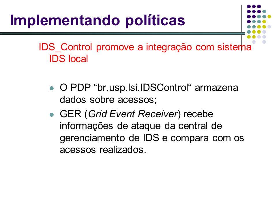 Implementando políticas IDS_Control promove a integração com sistema IDS local O PDP br.usp.lsi.IDSControl armazena dados sobre acessos; GER (Grid Event Receiver) recebe informações de ataque da central de gerenciamento de IDS e compara com os acessos realizados.