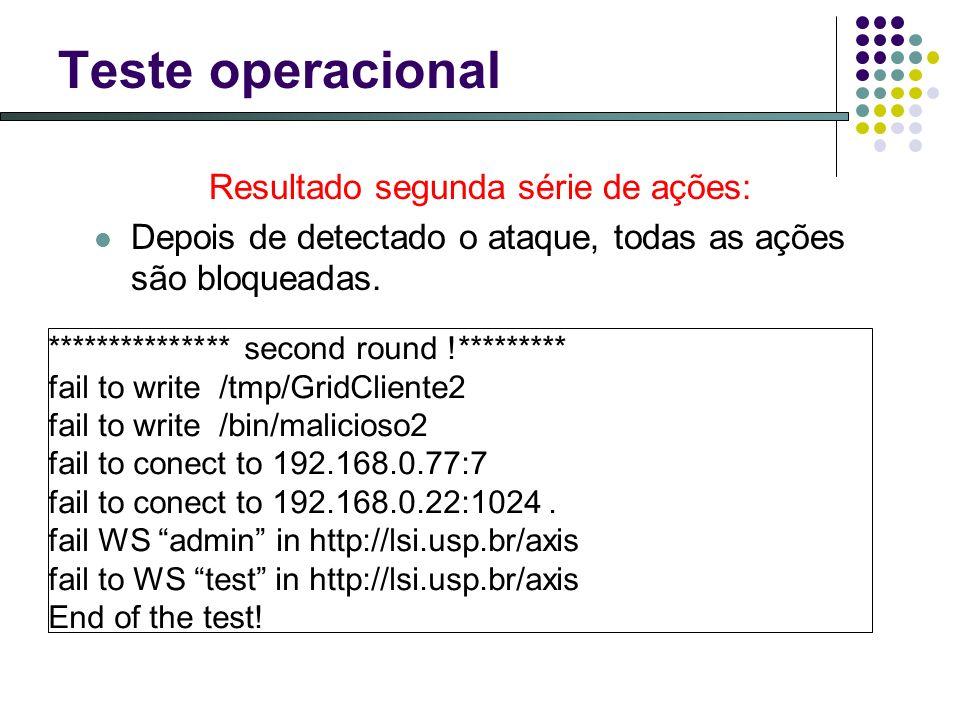 Teste operacional Resultado segunda série de ações: Depois de detectado o ataque, todas as ações são bloqueadas. *************** second round !*******