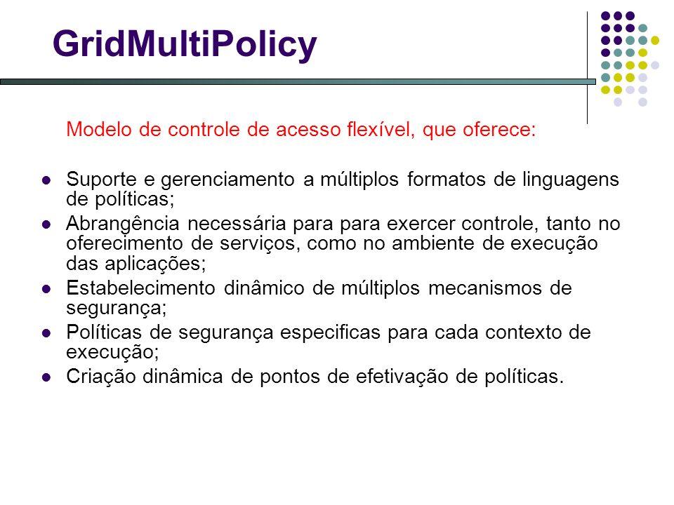 GridMultiPolicy Modelo de controle de acesso flexível, que oferece: Suporte e gerenciamento a múltiplos formatos de linguagens de políticas; Abrangência necessária para para exercer controle, tanto no oferecimento de serviços, como no ambiente de execução das aplicações; Estabelecimento dinâmico de múltiplos mecanismos de segurança; Políticas de segurança especificas para cada contexto de execução; Criação dinâmica de pontos de efetivação de políticas.