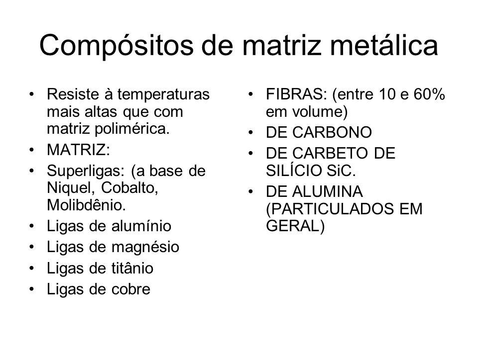 Compósitos de matriz metálica Resiste à temperaturas mais altas que com matriz polimérica. MATRIZ: Superligas: (a base de Niquel, Cobalto, Molibdênio.
