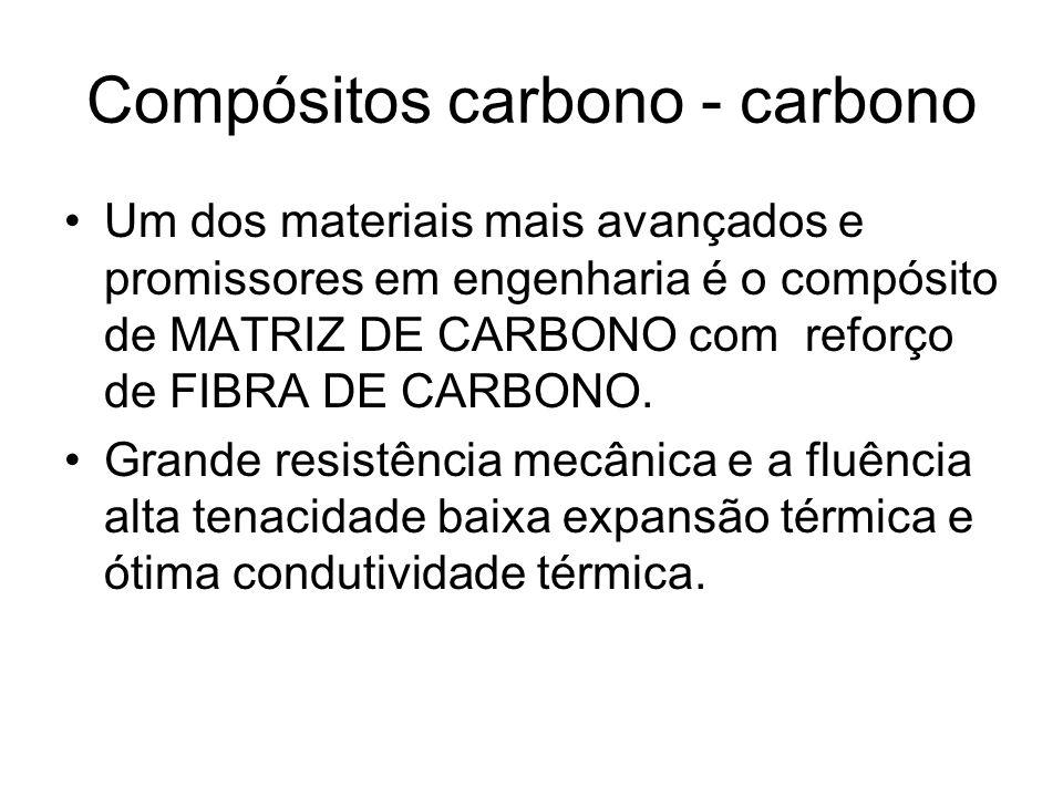 Compósitos carbono - carbono Um dos materiais mais avançados e promissores em engenharia é o compósito de MATRIZ DE CARBONO com reforço de FIBRA DE CA