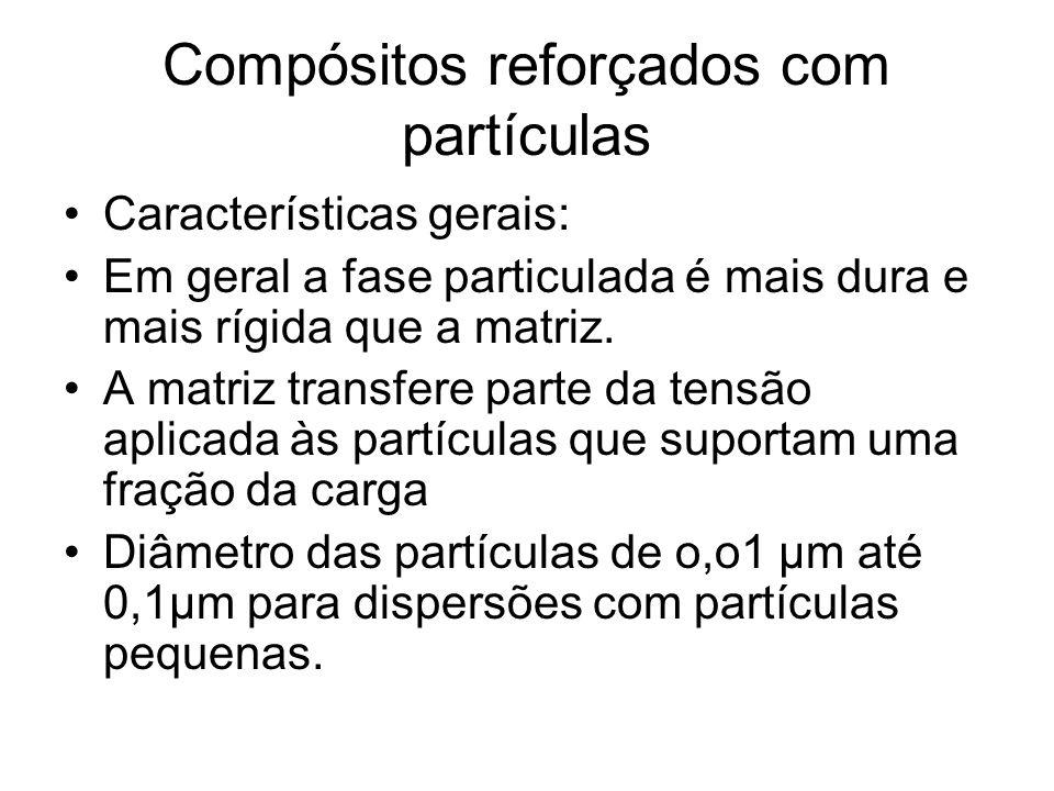 Compósitos reforçados com partículas Características gerais: Em geral a fase particulada é mais dura e mais rígida que a matriz. A matriz transfere pa