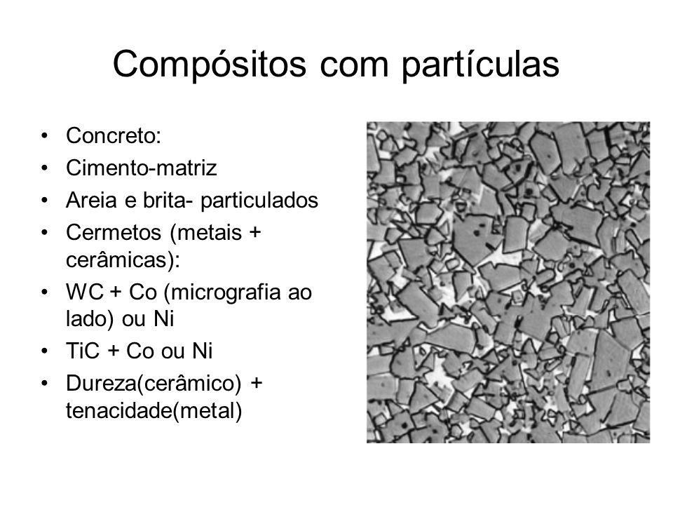 Compósitos com partículas Concreto: Cimento-matriz Areia e brita- particulados Cermetos (metais + cerâmicas): WC + Co (micrografia ao lado) ou Ni TiC