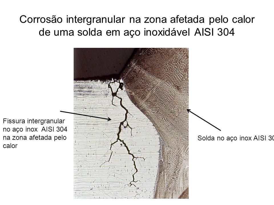 Corrosão intergranular na zona afetada pelo calor de uma solda em aço inoxidável AISI 304 Solda no aço inox AISI 304 Fissura intergranular no aço inox AISI 304 na zona afetada pelo calor