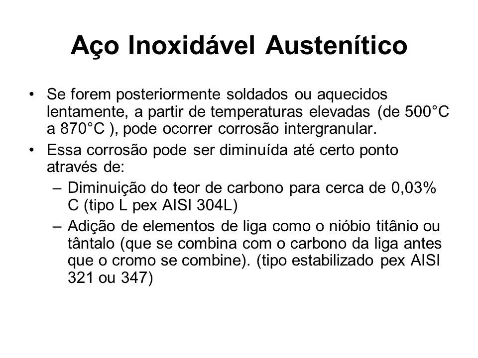 Aço Inoxidável Austenítico Se forem posteriormente soldados ou aquecidos lentamente, a partir de temperaturas elevadas (de 500°C a 870°C ), pode ocorrer corrosão intergranular.