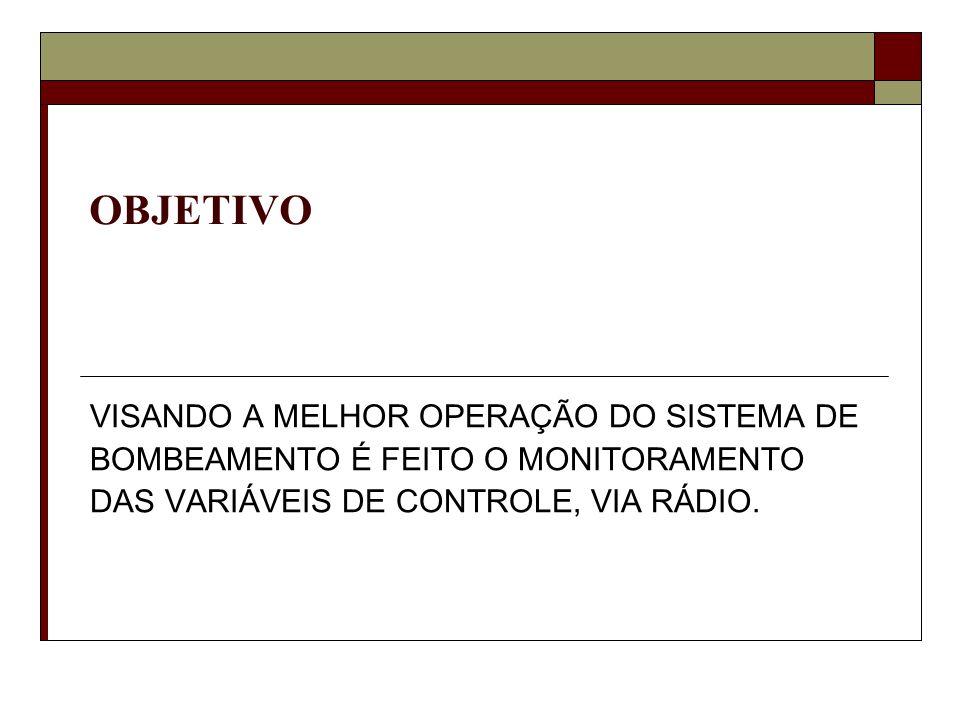 OBJETIVO VISANDO A MELHOR OPERAÇÃO DO SISTEMA DE BOMBEAMENTO É FEITO O MONITORAMENTO DAS VARIÁVEIS DE CONTROLE, VIA RÁDIO.