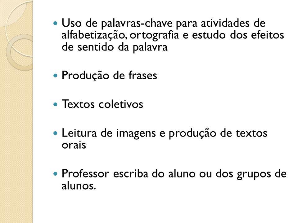 Uso de palavras-chave para atividades de alfabetização, ortografia e estudo dos efeitos de sentido da palavra Produção de frases Textos coletivos Leit