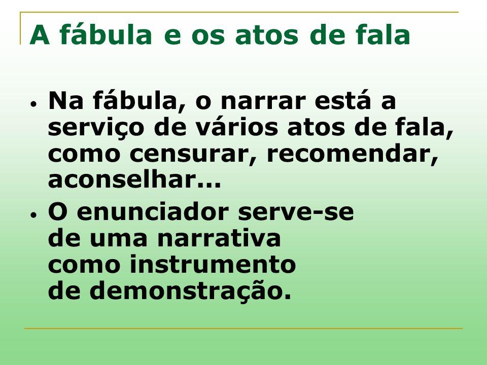 A fábula e os atos de fala Na fábula, o narrar está a serviço de vários atos de fala, como censurar, recomendar, aconselhar... O enunciador serve-se d
