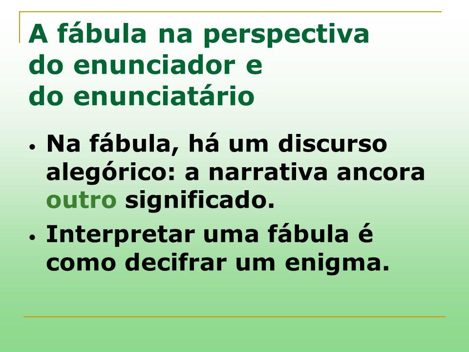 A fábula na perspectiva do enunciador e do enunciatário Na fábula, há um discurso alegórico: a narrativa ancora outro significado. Interpretar uma fáb
