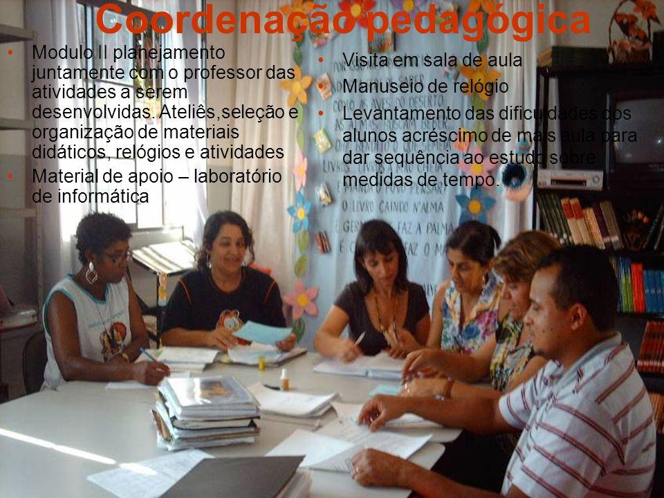 Coordenação pedagógica Modulo II planejamento juntamente com o professor das atividades a serem desenvolvidas. Ateliês,seleção e organização de materi