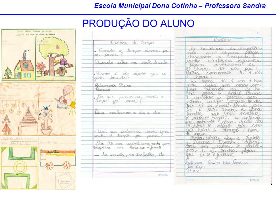 PRODUÇÃO DO ALUNO Escola Municipal Dona Cotinha – Professora Sandra