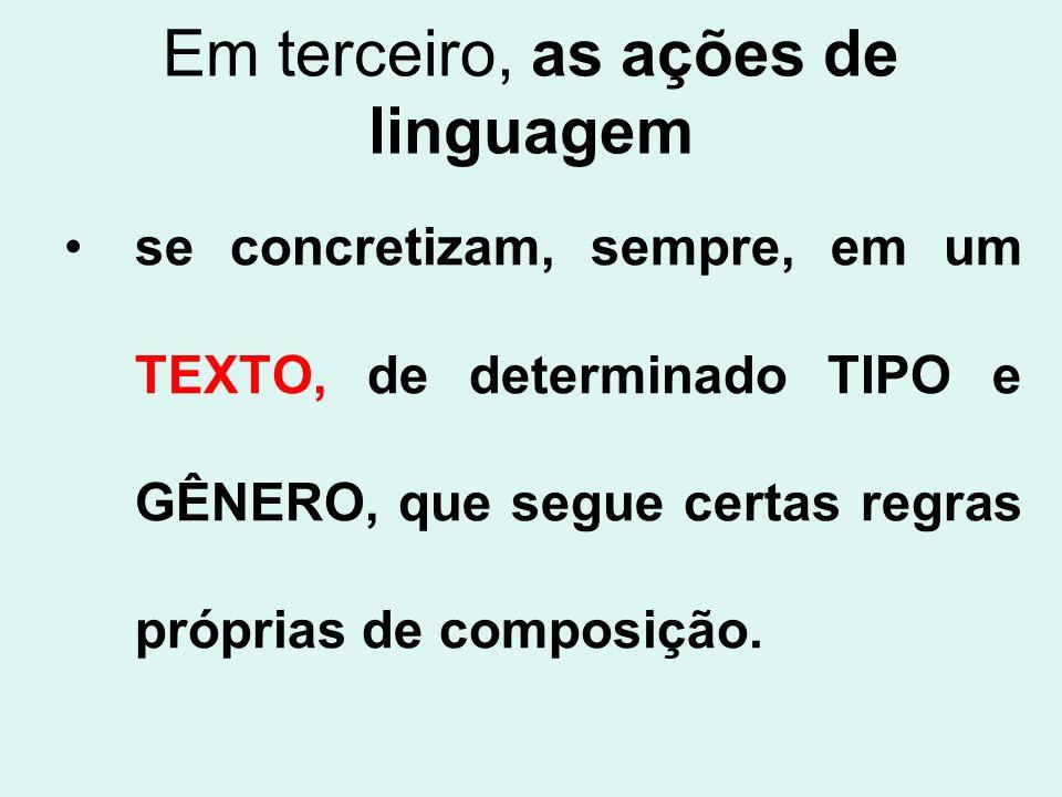 Em terceiro, as ações de linguagem se concretizam, sempre, em um TEXTO, de determinado TIPO e GÊNERO, que segue certas regras próprias de composição.