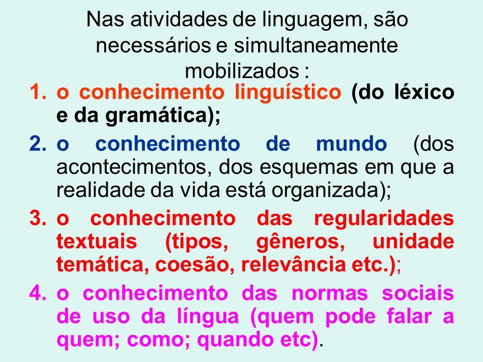Nas atividades de linguagem, são necessários e simultaneamente mobilizados : 1.o conhecimento linguístico (do léxico e da gramática); 2.o conhecimento